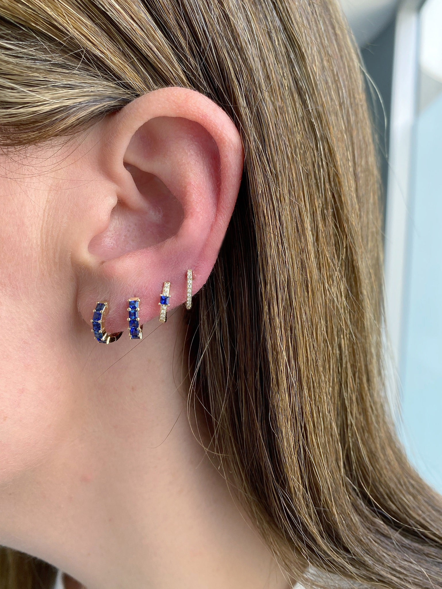 Blue Sapphire And Diamond Princess Mini Huggie Earring