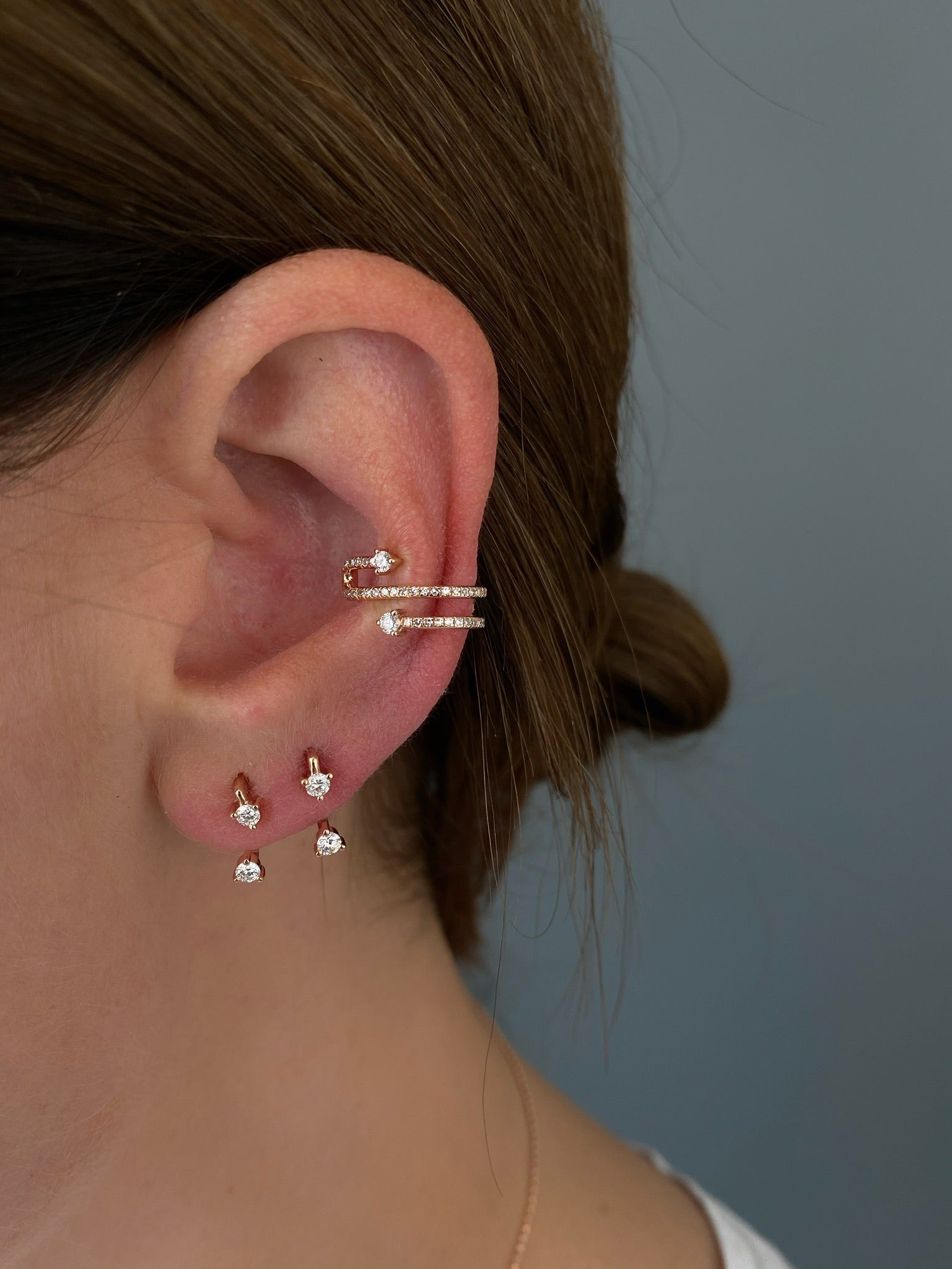 Prong Set Diamond Twist Ear Cuff (No Piercing)