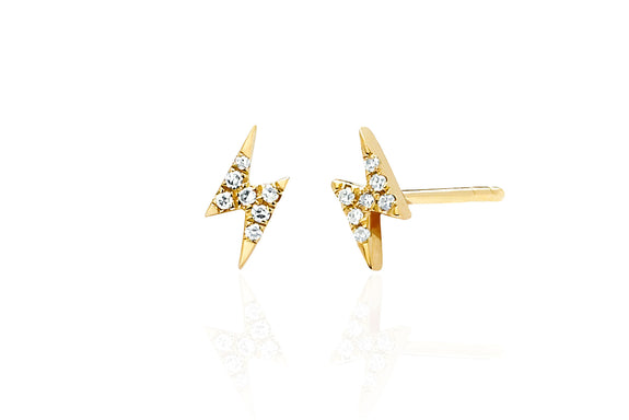 EF Collection Diamond Mini Lightning Bolt Stud Earrings - 1
