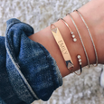 Diamond Double Triangle Nameplate Bracelet