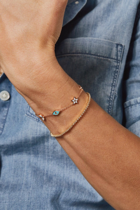 Multi Diamond & Enamel Charm Chain Bracelet