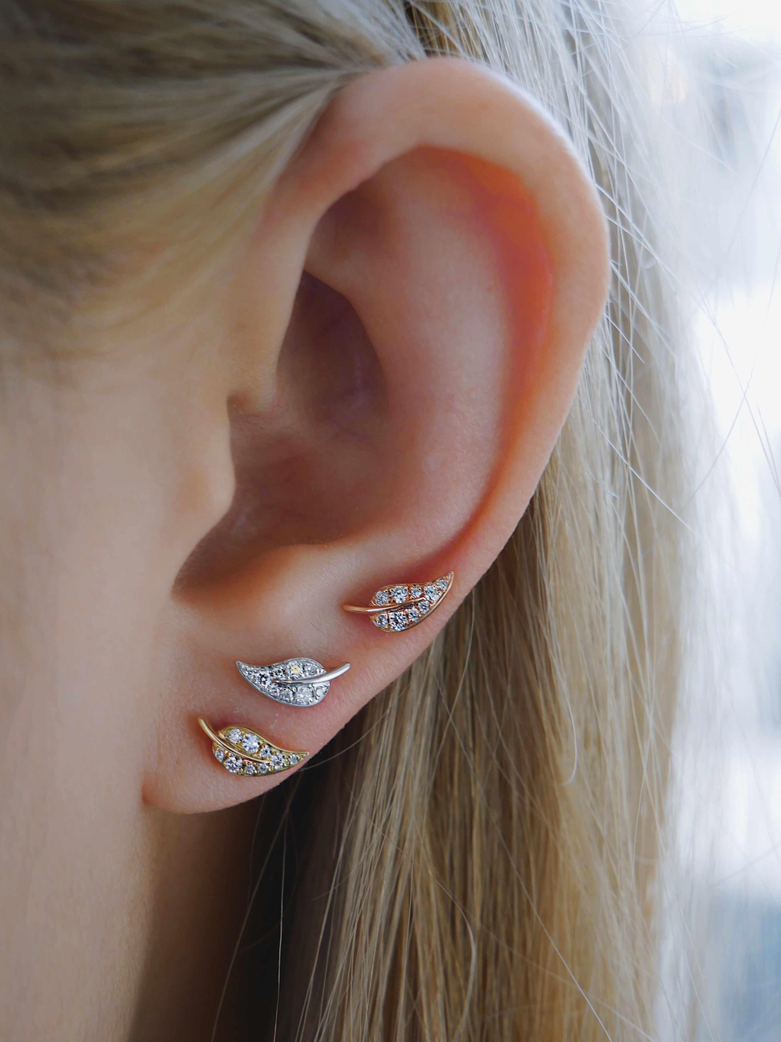 Mini Diamond Leaf Stud Earring