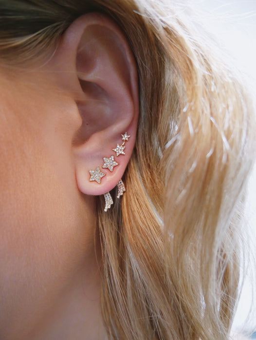 Single Diamond Shooting Star Ear Jacket