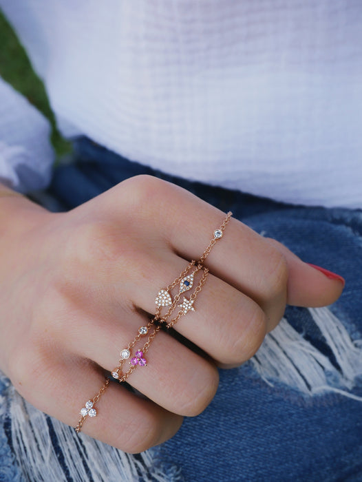 Diamond Mini Star Chain Ring