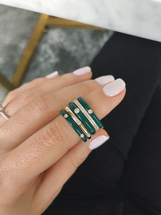 Jumbo Single Diamond Hunter Green Enamel Stack Ring