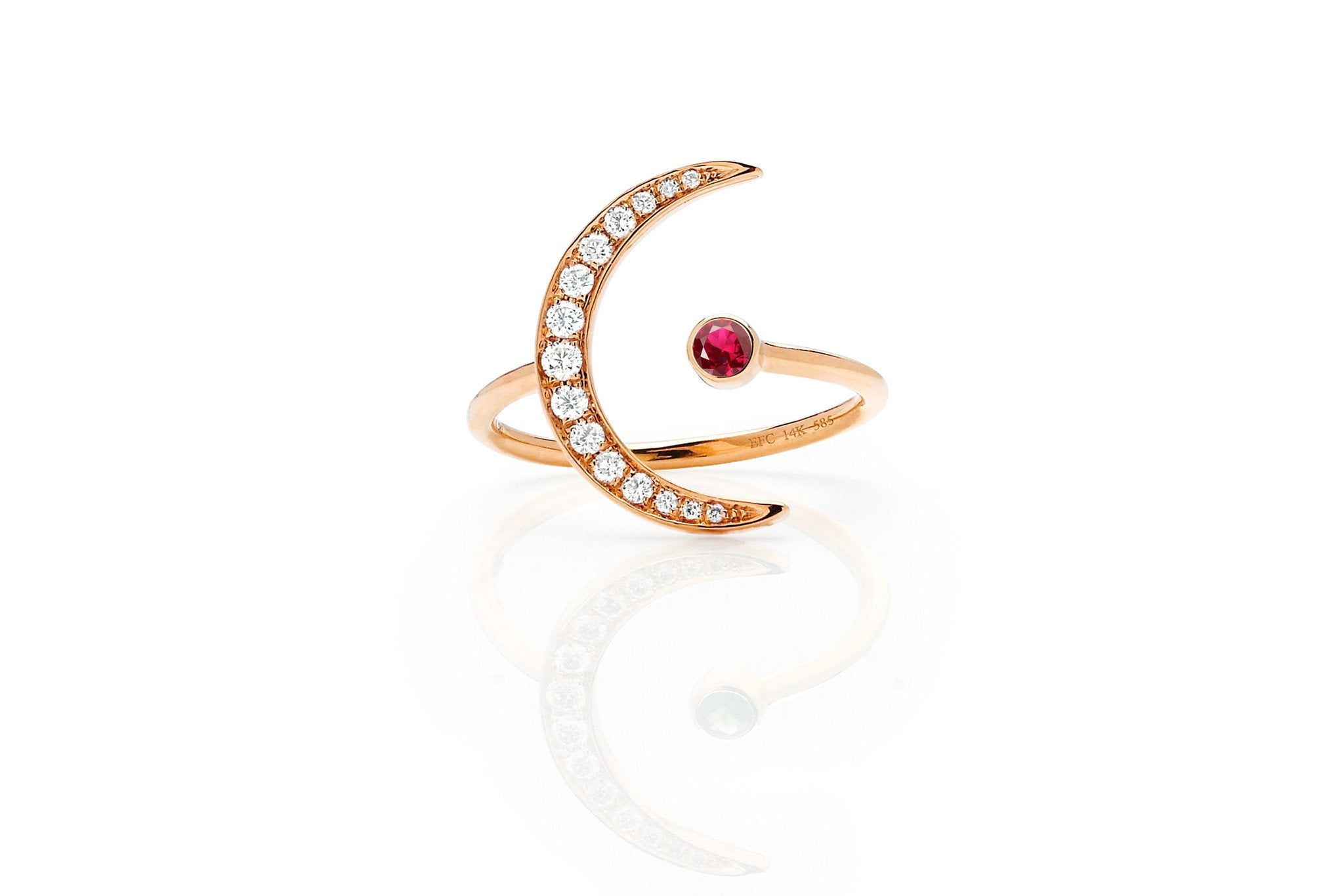 Ruby Diamond Crescent Moon Ring