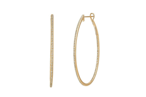 EF Collection Diamond Oval Hoop Earring - 1