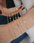 5 Mini Diamond Heart Chain Bracelet