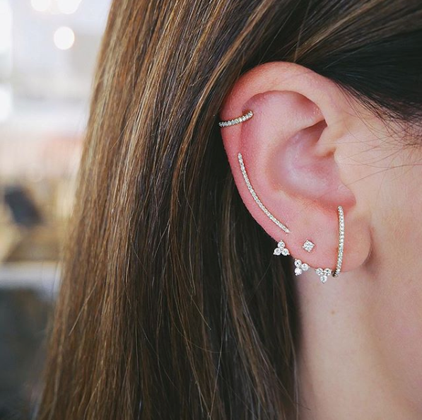 Diamond Triple Trio Ear Jacket
