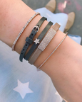 Diamond Mini Jumbo Bar Leather Choker/Double Wrap Bracelet