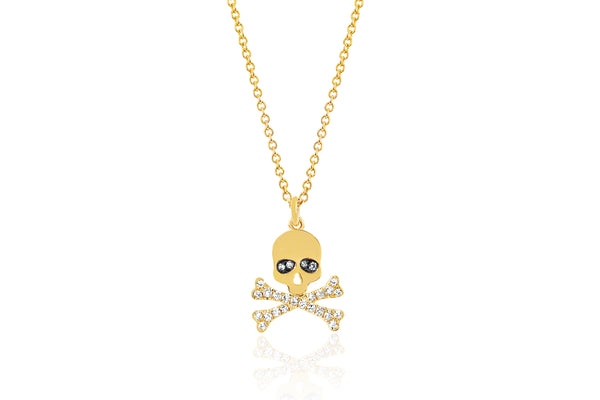 SoulCycle X EF Collection Diamond Skull Necklace