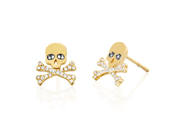 SoulCycle X EF Collection Diamond Skull Stud Earrings
