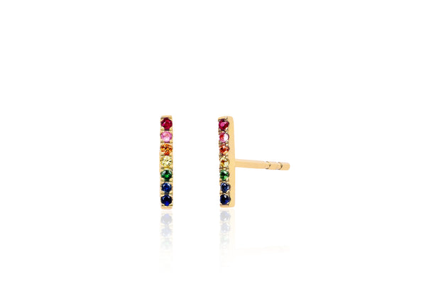 SoulCycle X EF Collection Single Rainbow Bar Stud Earring