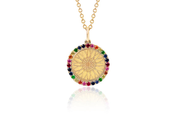 SoulCycle X EF Collection Rainbow Wheel Necklace