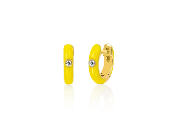 SoulCycle X EF Collection Diamond Yellow Enamel Huggie Earring