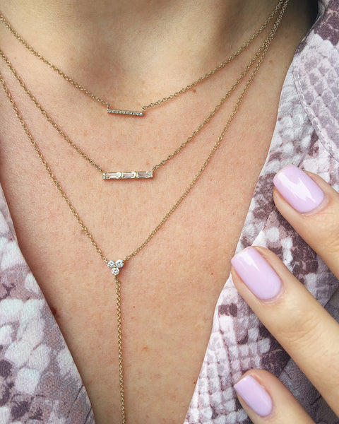 Diamond White Topaz Baguette Mini Bar Necklace