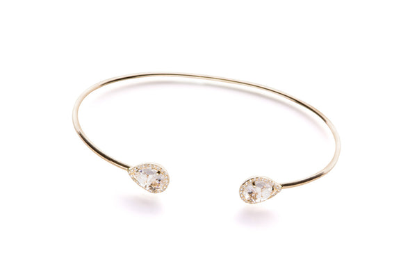 EF Collection White Topaz Diamond Double Teardrop Bangle - 1