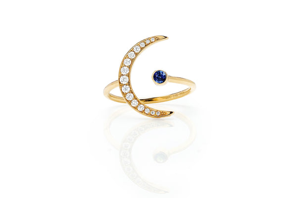 EF Collection Blue Sapphire Diamond Crescent Moon Ring - 1
