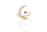 EF Collection Pink Sapphire Diamond Crescent Moon Ring - 1