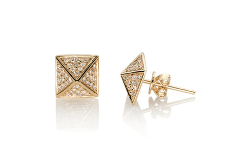 EF Collection Diamond Pyramid Stud Earrings - 1