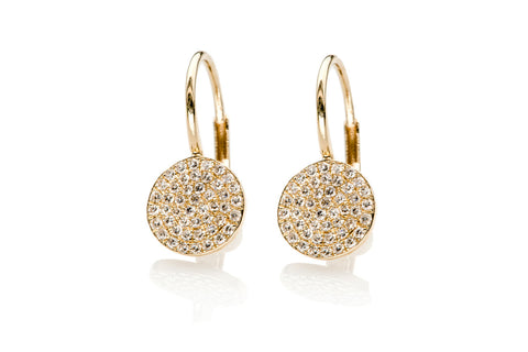 EF Collection Diamond Disc Lever Back Earring - 1