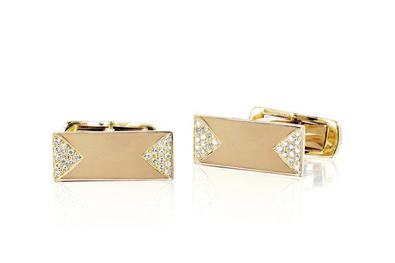 EF Collection Diamond Triangle Nameplate Cufflinks - 1