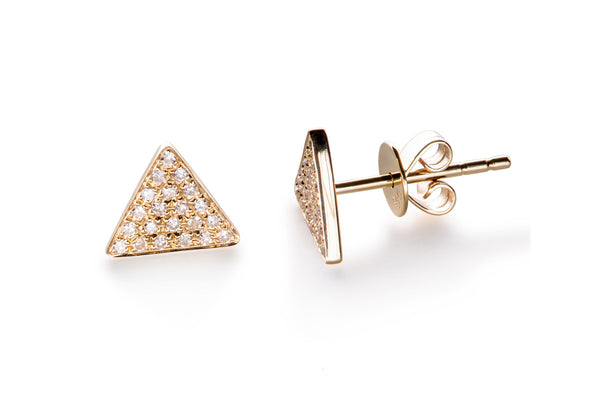 EF Collection Diamond Triangle Stud Earrings - 1
