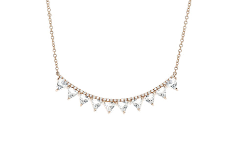 EF Collection Diamond White Topaz Multi Triangle Crescent Necklace - 1