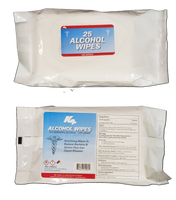 Top and bottom of 25 Count: 75% Isopropyl Alcohol Wipes In Travel Pack - RBL Products