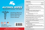 Close up of label for the 25 Count: 75% Isopropyl Alcohol Wipes In Travel Pack - RBL Products. Antibacterial Isopropyl Alcohol Wipes Disinfectant by KPP. Used for cleaning, sanitizing and disinfecting surfaces. Available in travel packs or canisters, these hand sanitizing wipes can be ordered in bulk at wipesbyrbl.com