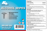 150 Count: 85% Isopropyl Alcohol Wipes In Closeable Canister Label. Antibacterial Isopropyl Alcohol Wipes Disinfectant by KPP. Used for cleaning, sanitizing and disinfecting surfaces. Available in travel packs or canisters, these hand sanitizing wipes can be ordered in bulk at wipesbyrbl.com.