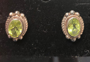 Sterling silver peridot small earrings