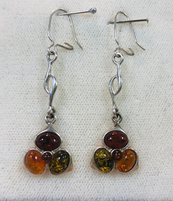 Earrings - Sterling Silver with Amber