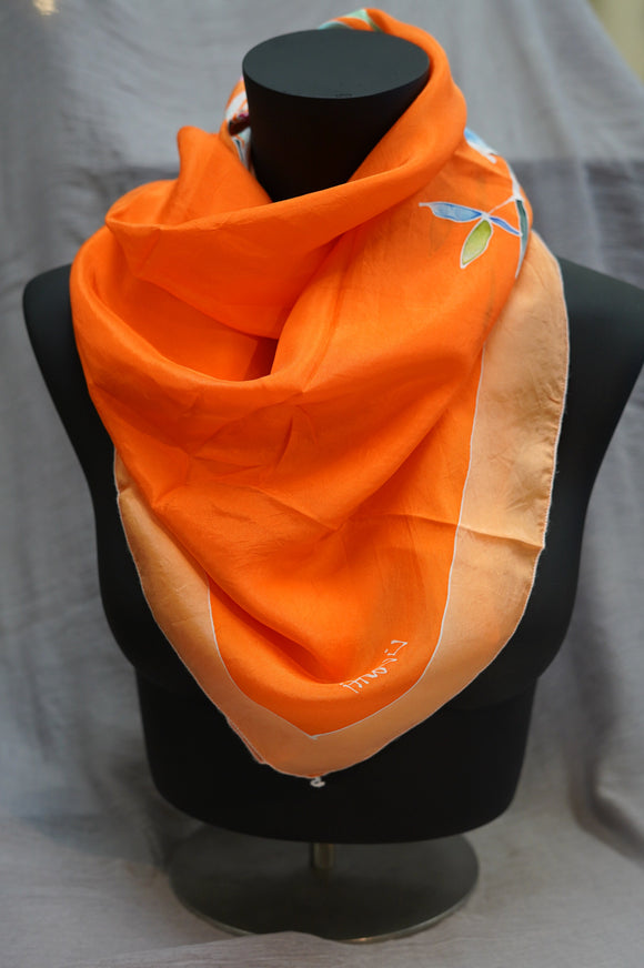 Orange pop Silk Scarf