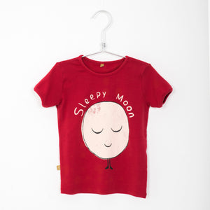 Retro Tee, sleepy moon, washed red - Lötiekids