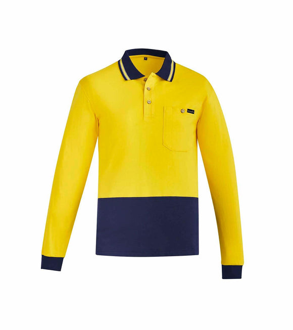 Hi Vis Cotton Long Sleeve Polo | Mens