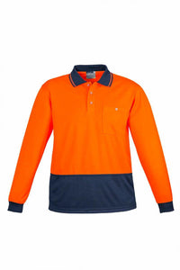Hi Vis Basic Spliced Long Sleeve Polo | Mens
