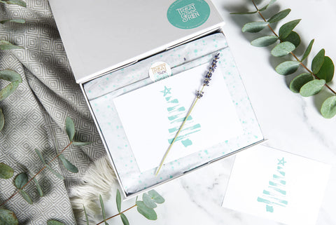 A Treat Them Green keepsake gift box, with a Christmas Greetings Card, all made from recycled materials.
