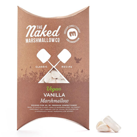 A brown box filled with vanilla flavoured, vegan friendly marshmallows. The box reads 'Naked Marshmallow Co' Vegan Vanilla Marshmallows'