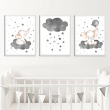 Load image into Gallery viewer, Cartoon Elephant Balloon Cloud Poster Animal Nursery Art Print Wall Picture Canvas Painting Nordic Kid Baby Bedroom Decoration
