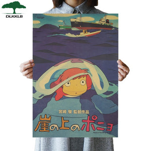 Dlkklb Hayao Miyazaki Anime Movie Poster Set Kraft Paper Cafe Bar Retro Poster Decorative Painting Art Wall Stickers Home Decor