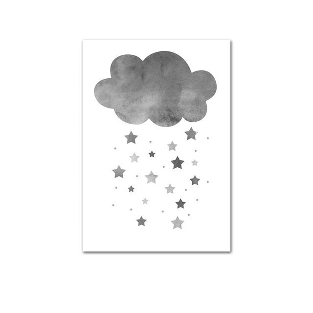 Cartoon Elephant Balloon Cloud Poster Animal Nursery Art Print Wall Picture Canvas Painting Nordic Kid Baby Bedroom Decoration