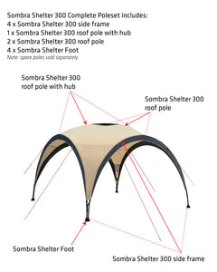 Sombra Shelter 300 roof pole with hub
