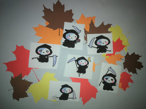 Little Plague Doctor Grim Reaper Stickers -Set of 6