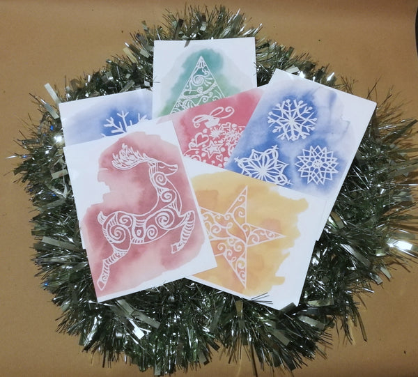 Watercolour Christmas Cards -set of 6