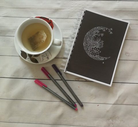 Planner/Journal/Notebook -Floral Moon Black and White