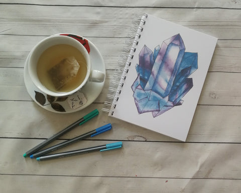 Planner/Journal/Notebook -Fluorite Crystal Painting