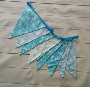Christmas Decoration Bunting -Blue and White Snowflakes, Reindeer