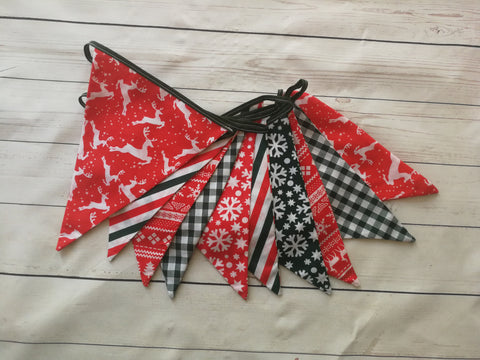 Christmas Decoration Bunting -Red, White and Green Reindeer