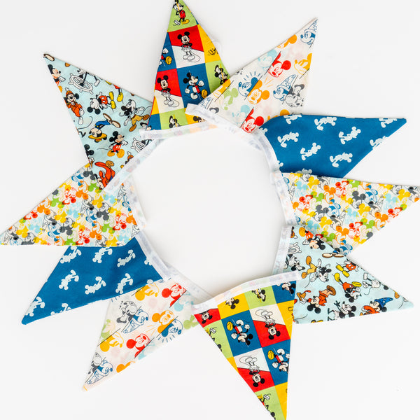 Mickey Mouse Handmade Double-Sided Fabric Bunting